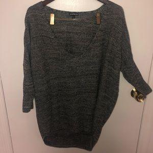 Express Medium Gray Scoop Open Neck Sweater